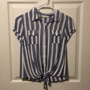 Blue and white vertically stripped top!
